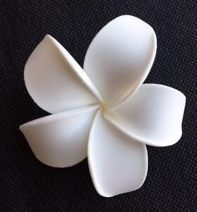 Hawaiian Plumeria Foam Flower Hair CLIP White Wedding Bridal Luau Prom Party NEW