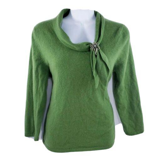 Daniel Bishop Womens Sweater 100% Cashmere Green T