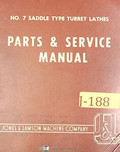 Jones & Lamson 7, Saddle Type Turret Lathe, Service and Parts Manual 1964