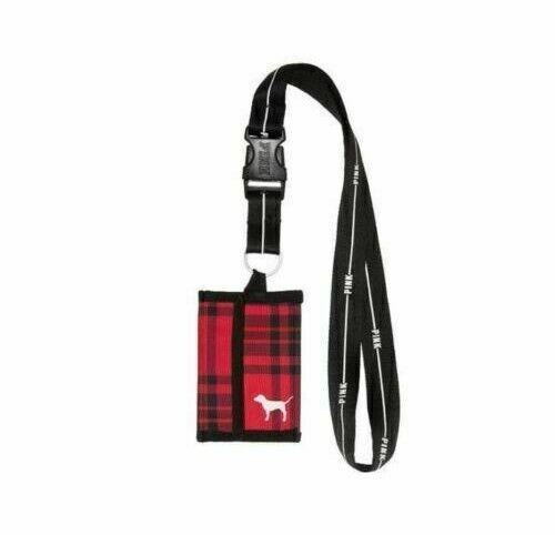 SEALED Victoria/'s Secret PINK Lanyard ID Badge Card Holder Red Plaid Wallet