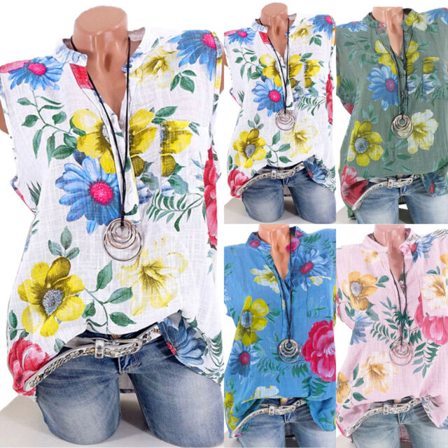Women Ladies Sleeveless V Neck Floral Casual Tank Top Blouse Tops Summer T Shirt