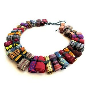 Women-Unique-Pure-Handmade-Statement-Necklace-African-Printed-Wax-Fabric-Jewelry
