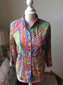 LAUREN RALPH LAUREN Bright Multicoloured Shirt Blouse 3/4 Sleeve Size Small 10