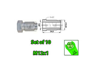 SET-of-10-Male-M12x1-HEX-13-Brake-Line-Pipe-Nuts-Galvanized-Metric-for-3-16