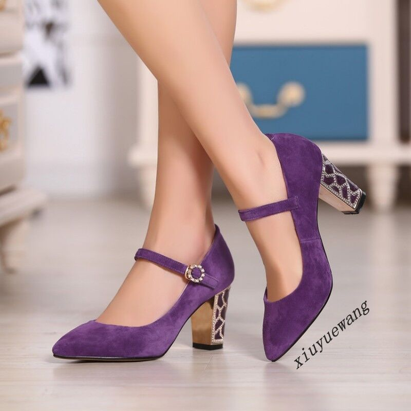 Chic Donna High Block Heel Ankle Strap Dress Pointy Toe Suede Dress Strap Pumps Party Shoes d01425