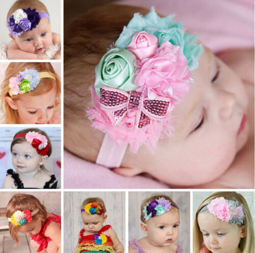 Kid Girl Baby Headband Toddler Lace Bow Flower Hair Band Accessories Headwear k