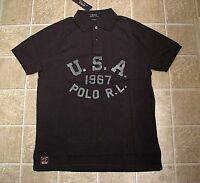 Custom Fit (M) POLO-RALPH LAUREN Black USA Mesh Polo Shirt