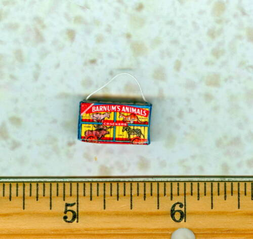 Dollhouse Miniature Size  Animal Cracker Box BLUE with String