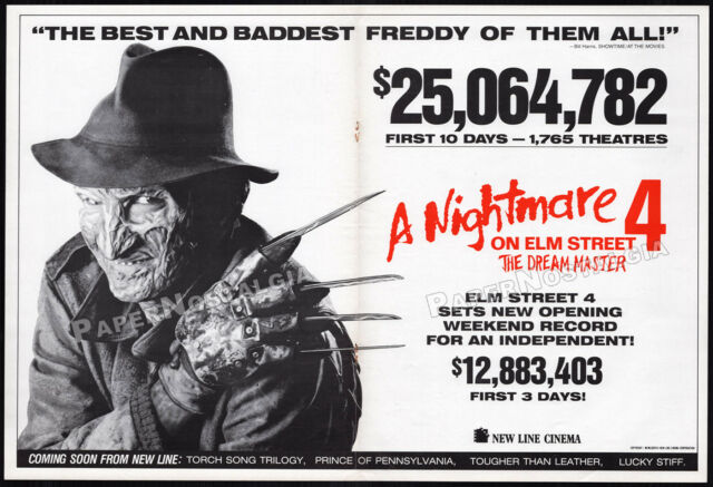 A NIGHTMARE ON ELM STREET 4__Orig. 1988 box office Trade AD_poster__Dream Master