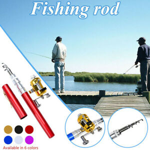 Portable Mini Telescopic Pocket Fish Pen Aluminum Alloy Fishing Rod Pole + Reel