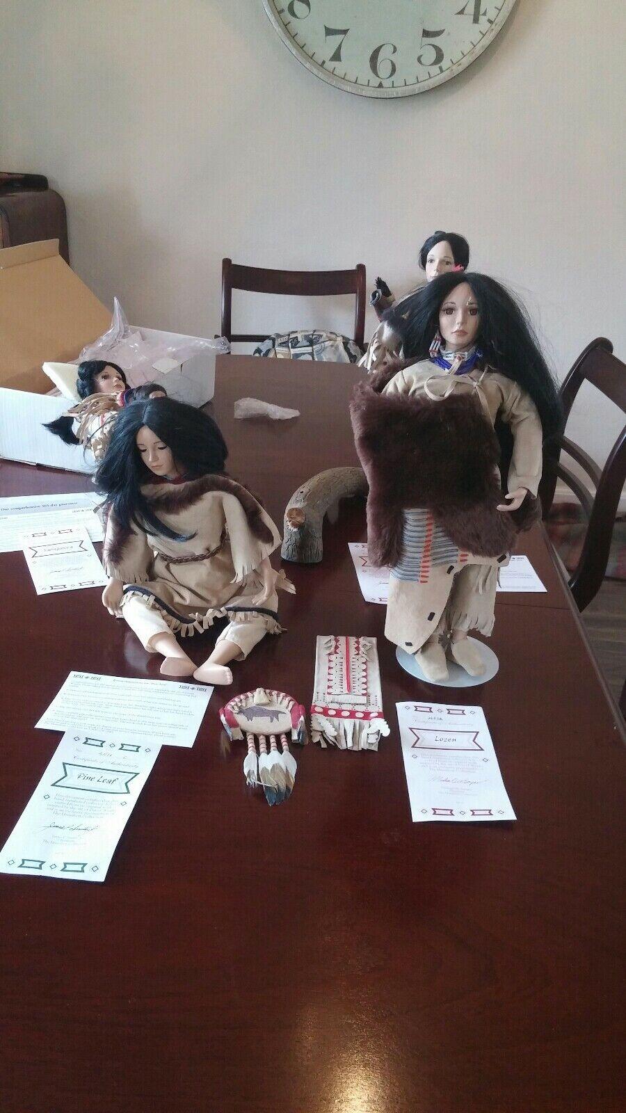 4 bambole NATIVI AMERICANI ispirato l'arte di David Wright