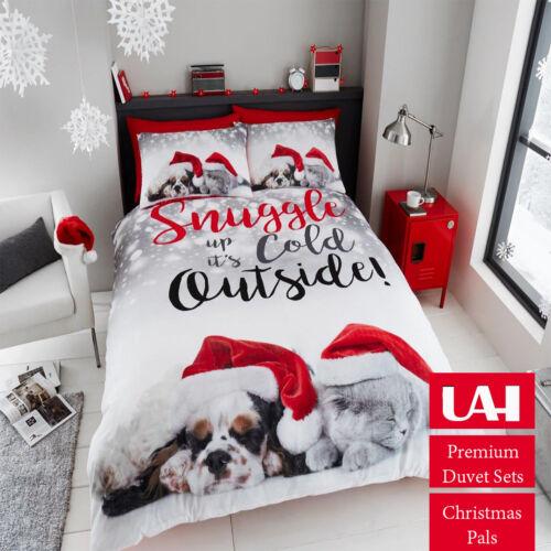 Father Christmas Tree Santa Claus Reindeer Snowman Quilt Duvet Cover Bedding Set