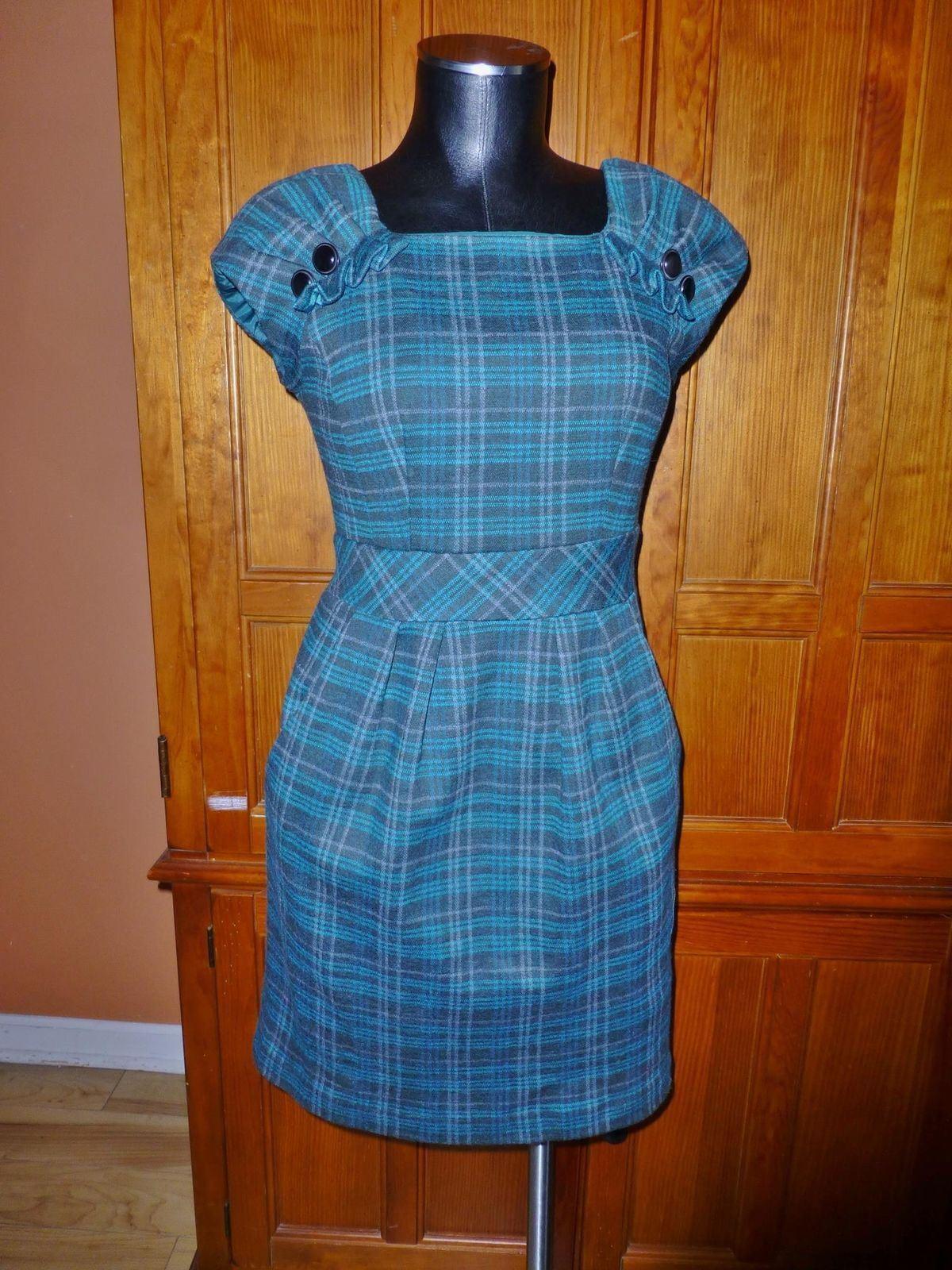 NANETTE LEPORE Anthropologie Pretty PLAID Wool DRESS sz 4 S