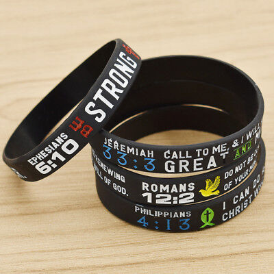 """Pack of 6 Silicone Wristband with Motivational Bible Verses for Women 7.5/"""""""