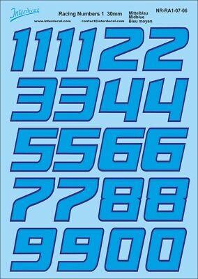 Schwarze Zahlen Decal für R01 13mm Naßschiebebild Startnummern NR-BK-24-4