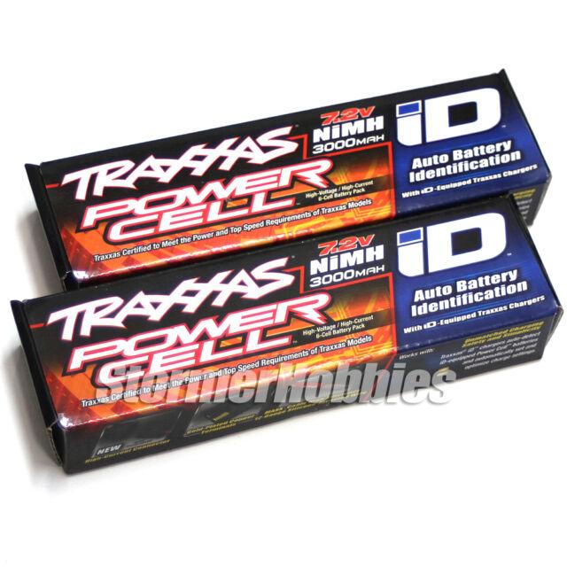 (2) Traxxas Rustler 6-cell batterys 7.2V 3000mAh NiMH Batterys with iD