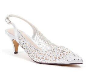 Lady Couture Women/'s Jewel Classic Slingback Sparkle Kitten Heels Silver
