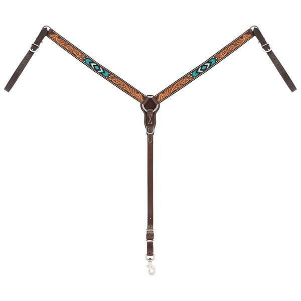 WEAVER TURQUOISE CROSS BEADED STRAIGHT BREAST COLLAR 45-0327