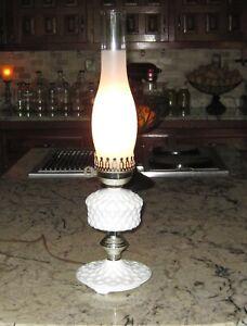 Electric-Milk-White-Hobnail-Glass-Table-Hurricane-Lamp-Lovely-Vintage-Decor
