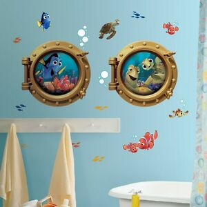 disney finding nemo 19 big wall decals kids bathroom stickers room decor fish ebay. Black Bedroom Furniture Sets. Home Design Ideas