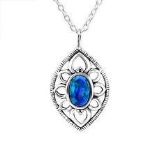 925 Argento Sterling Marquise Collana Con Ciondolo creato Opale Pavone Fascino
