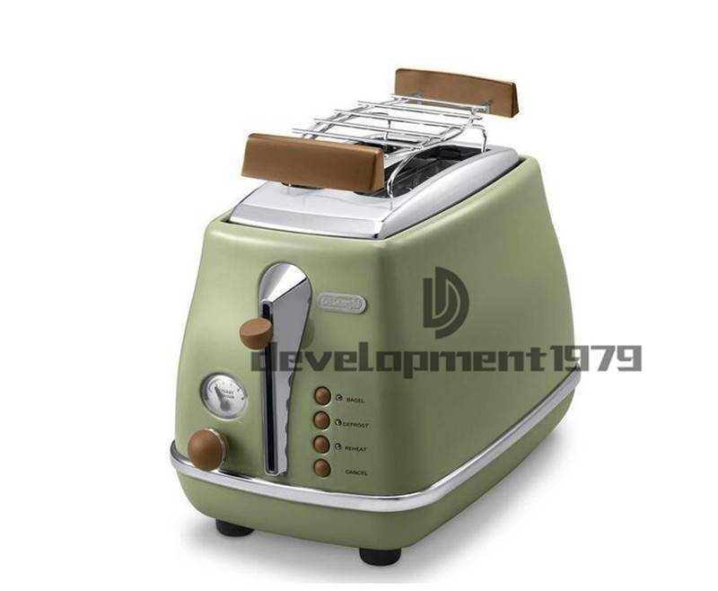 NEW DeLonghi Collection 2 Slice TOASTER Retro with shelf CTO2103 olive green