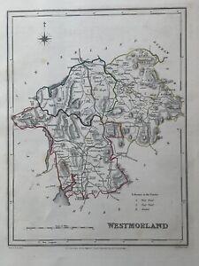 1848 Mão Antigo Original Westmorland Colorido County Mapa 172 Anos