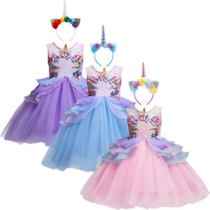 b6babba36 Flower Girl Unicorn Dress Up Princess Costume Kids Birthday Outfit ...