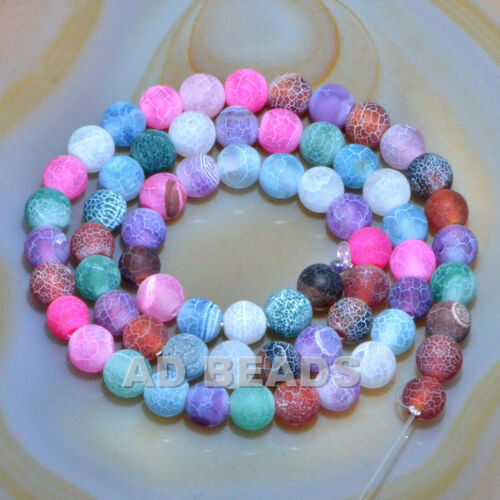 """Colorful Matte Fire Crackle Agate Gemstones Round Beads 15/"""" 4mm 6mm 8mm 10mm"""