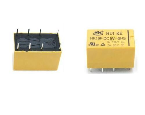 50PCS DC 5V Coil DPDT 8 Pin 2NO 2NC Mini Power Relays PCB Type HK19F CA NEW