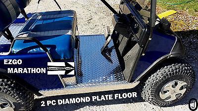 ezgo MARATHON golf cart Highly Polished Aluminum Diamond Plate 2 pc Floor Cover