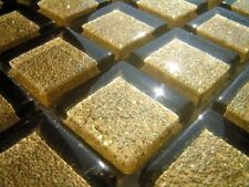 LUXUS Klarglas Mosaikfliesen GOLD GLITZER hochglanz 25x25x6 GLITTER CRISTAL