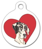 Heart Great Dane - Custom Personalized Pet Id Tag For Dog And Cat Collars