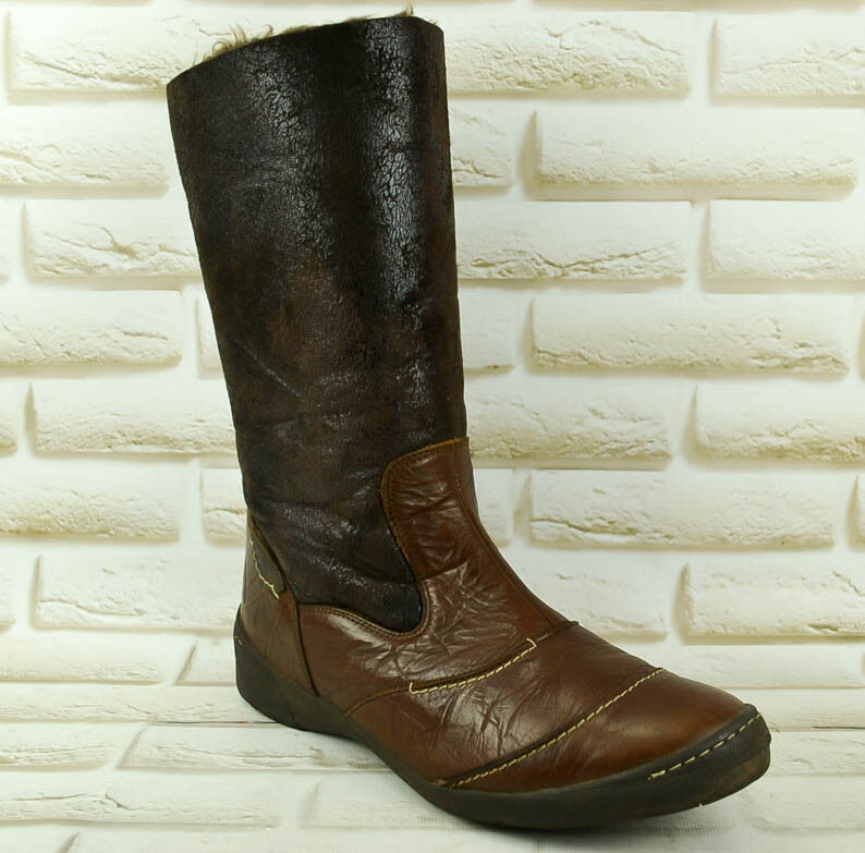 JOSEF SEIBEL Calf Brown Leather Womens Mid Calf SEIBEL Boots Casual Zipped Size 7 UK 41 EU 81df41