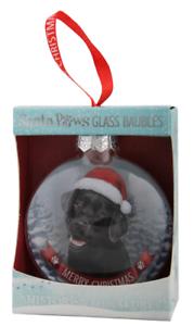 H/&h Santa Paws Verre Arbre de Noël décoration Babiole Cadeau-Labrador Noir