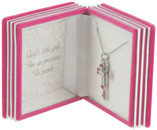 Easter gift ideas for grandchildren collection on ebay girls cross necklace pendant pink bible gift box silver plated baptism easter negle Choice Image