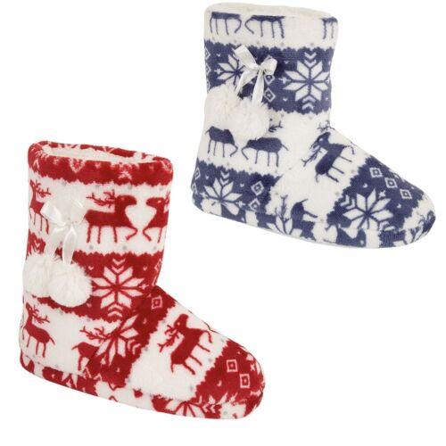 Ladies Womens Girl Warm Winter fleece Pompom Reindeer Bootie Slippers Shoes Gift