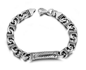 Bracciale Uomo Acciaio Inox Vintage Tribale Etnico Catena Stile Antico Argento