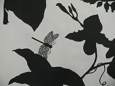 "17.5Y Duralee ""Flora Imperialis Black"" & WHITE COTTON BIRD DRAGONFLY Print  #598"