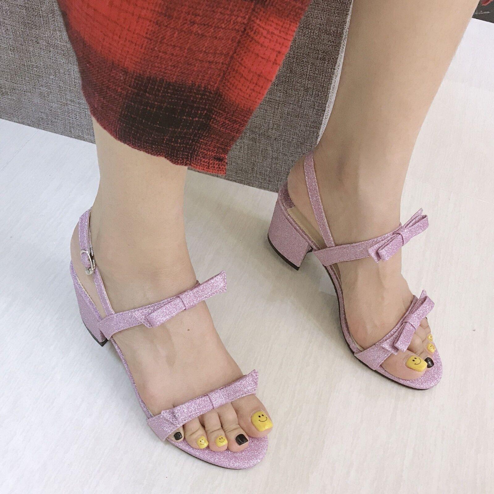 7 Eleganti Sandalo Brillantini Tacco Quadrato Viola Cm E2H9ID
