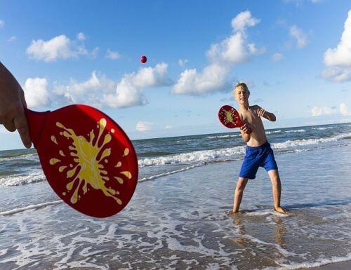 Neopren Strandtennis 2 Beachball Spiel Set 2 Beachballschläger Strandspielzeug