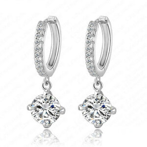 Image Is Loading Dangle Row Circle Cubic Zirconia Leverback Hoop Earrings
