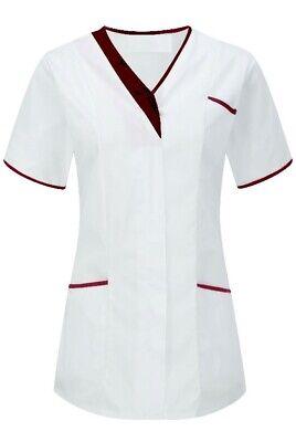 Zelfbewust Womens Beauty Healthcare Tunic. Salon Uniform. White With Contrast Trim Ins33wh Geselecteerd Materiaal