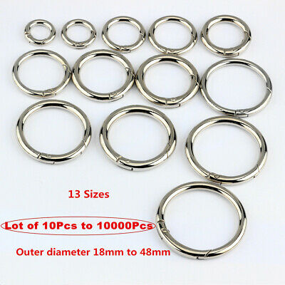 18-48mm  Round Snap Hook Carabiner Hooks Snap-action Spring Conn 4 colour