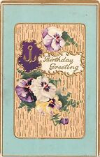 Pretty Pansies on Old Gilded Birthday Postcard - Serie No. 8