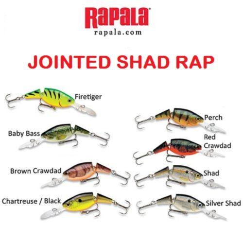 "2"" 1//4 oz Choice of Colors Rapala Jointed Shad Rap JSR-05"