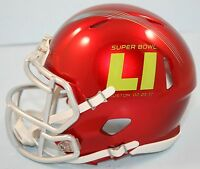 Super Bowl Li 51 Riddell Special Edition Red With Chrome Mask Speed Mini Helmet