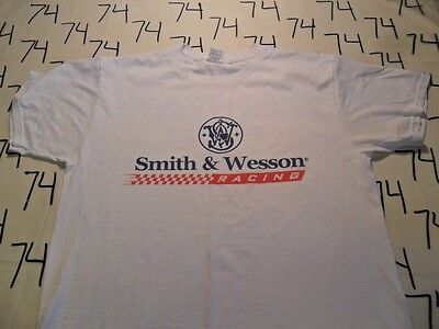 Smith /& Wesson Racing Button Front Pocket Logo Embroidered White Casual Shirt
