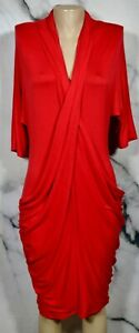 BYRON BYRON LARS Red Stretch Jersey Draped Dress Medium Half Dolman Sleeves
