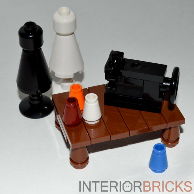 LEGO Furniture: Sewing Room Collection  -  Sewing Machine, Dress Forms & Table